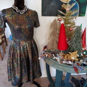 Lularoe iridescent holiday dress, S